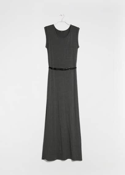 Chest-pocket long dress
