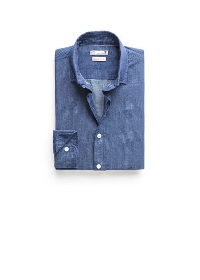 Gestippeld chambray slim-fit overhemd