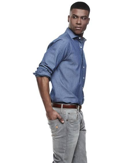 Chemise slim-fit chambray pois