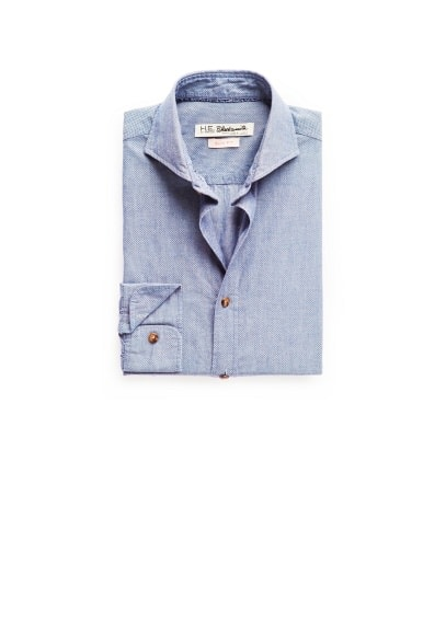 Slim-fit polka-dot chambray shirt