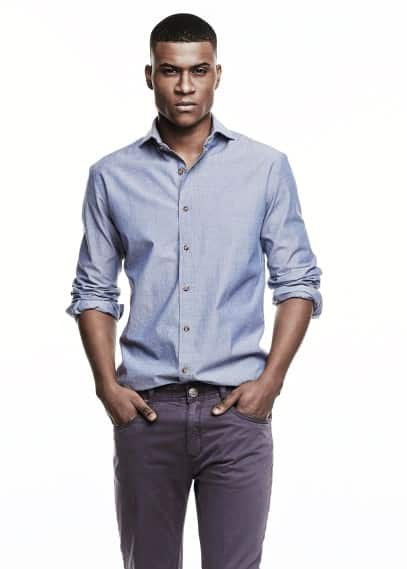 Camisa slim-fit chambray lunares