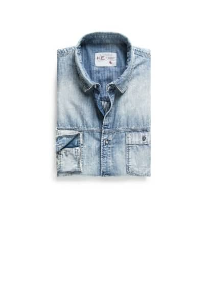 Camisa classic-fit denim rayas
