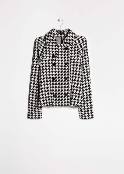 Houndstooth cotton-blend jacket