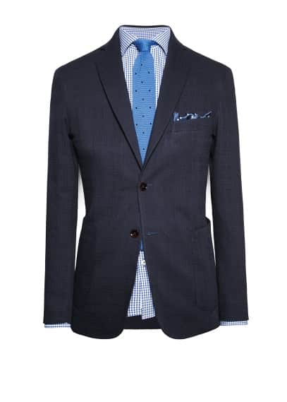 Check textured blazer