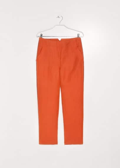 PREMIUM - Trim linen-blend trousers
