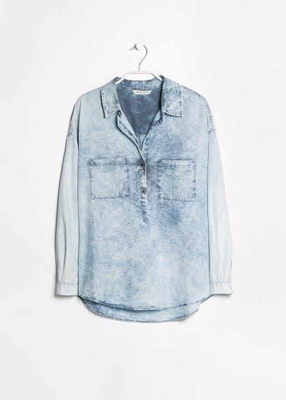 Bleached denim blouse