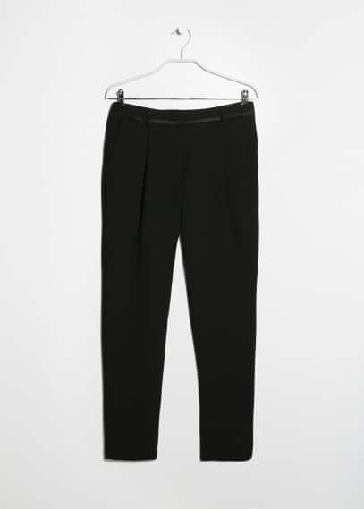 Satin trimming crepe trousers