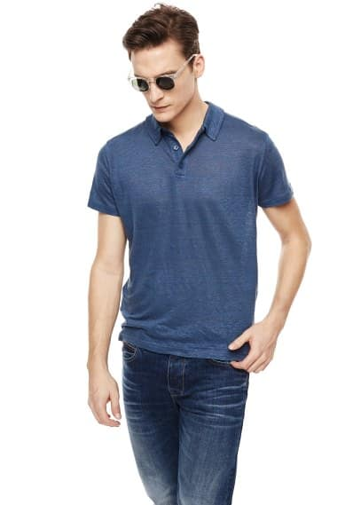Side slit linen polo shirt