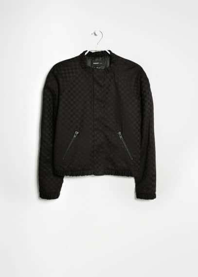 Textured quilted bomber jacket