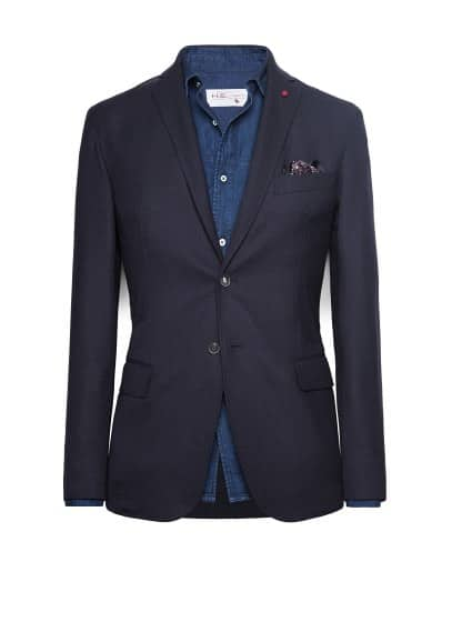 Unstructured wool-blend blazer