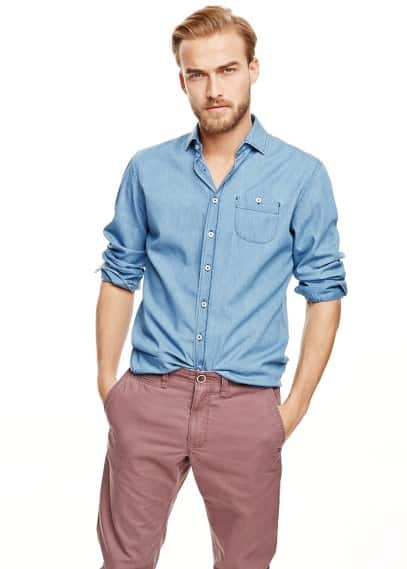 Chambray slim-fit overhemd