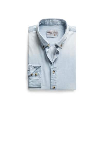 Camisa slim-fit denim bleach