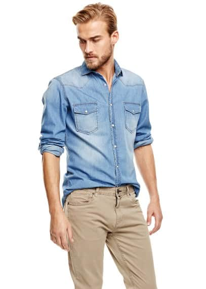 Camisa classic-fit denim medio