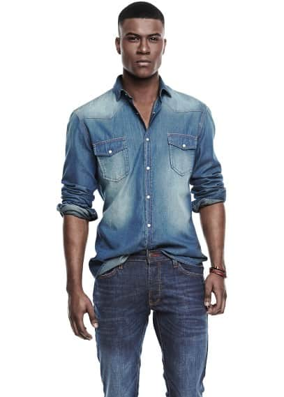 Camisa classic-fit denim vintage