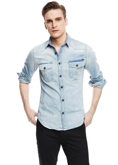 Camicia denim chiaro classic-fit