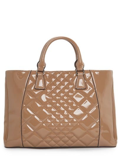 Quilted patent tote bag