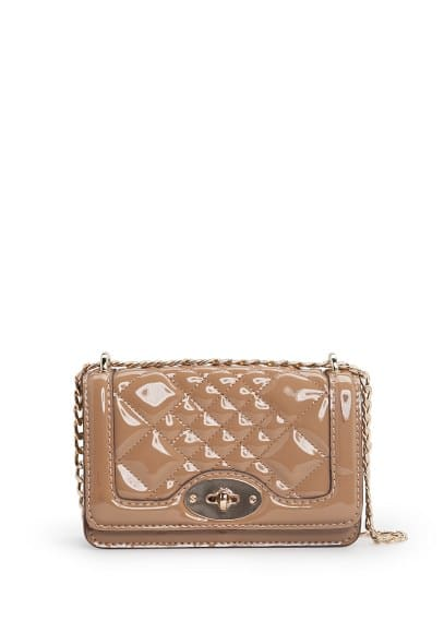 Quilted patent cross body bag