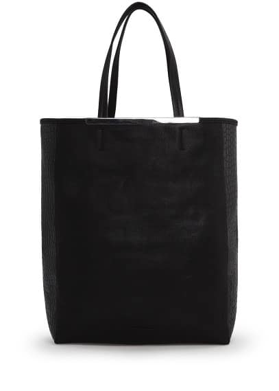 Croc-effect side shopper bag