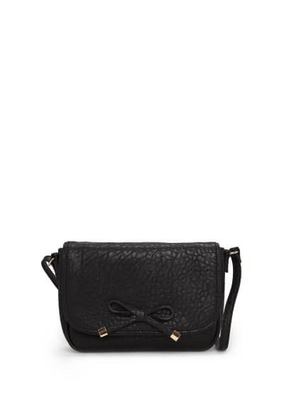 Bow pebbled-effect bag