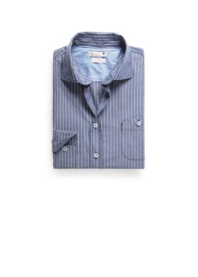 Camisa slim-fit chambray rayas