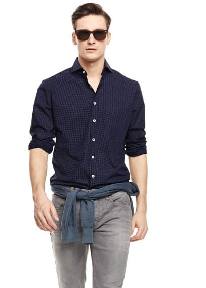 Slim-fit pin-dot shirt