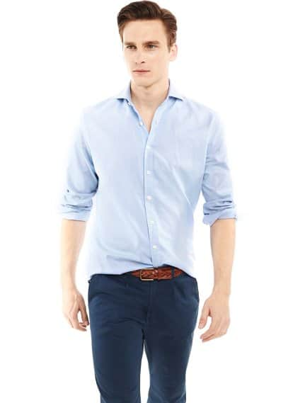 Camisa slim-fit jacquard