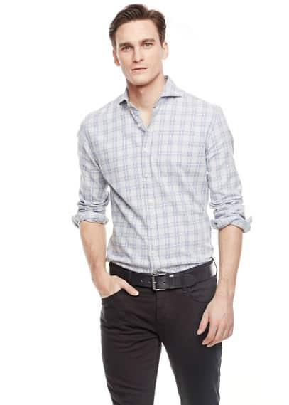 Chemise slim-fit twill carreaux