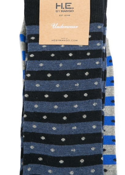 2 pack polka-dot striped socks