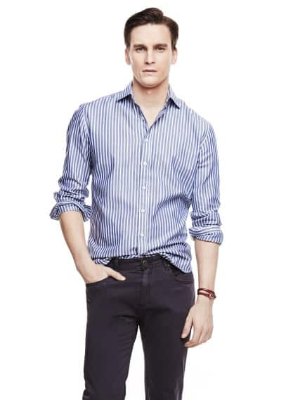Gestreept Oxford slim-fit overhemd