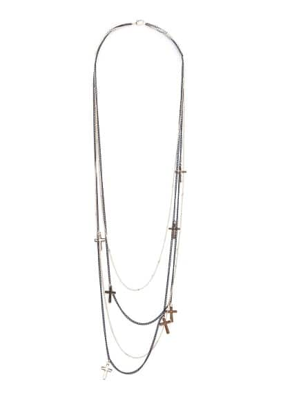 Cross multi chain necklace
