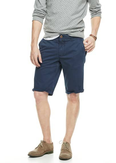 Washed cotton bermuda shorts