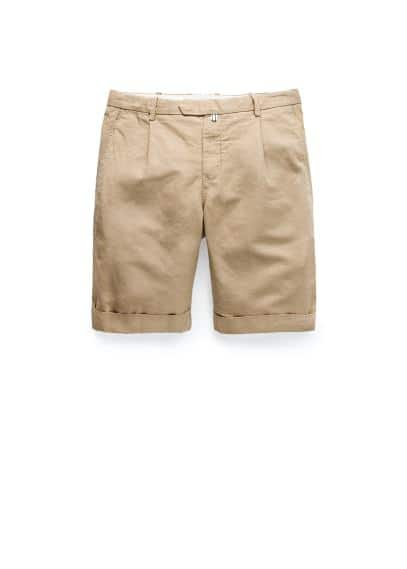 Rolled-up hem cotton linen-blend bermuda shorts