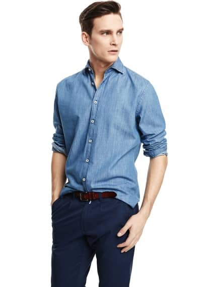Camisa slim-fit chambray