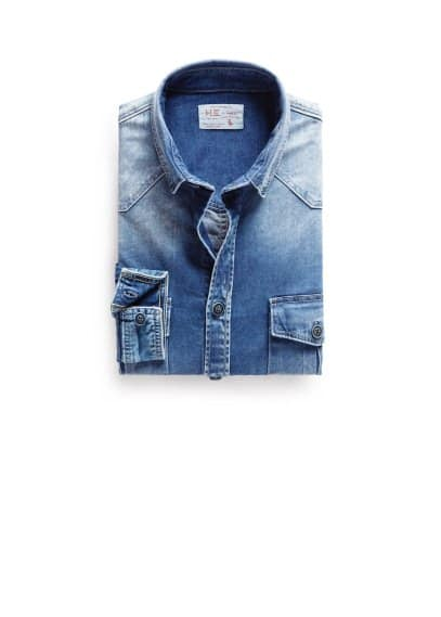 Denim classic-fit overhemd met medium wassing