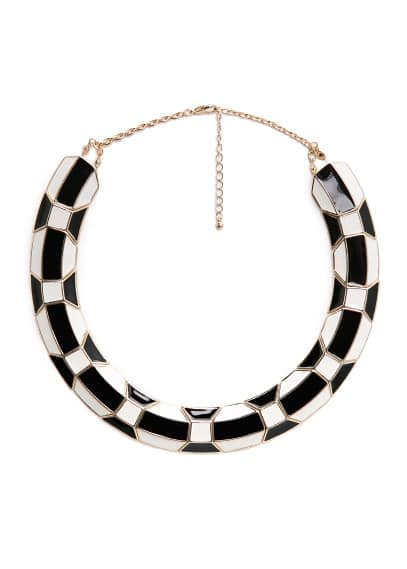 Enamel plate necklace