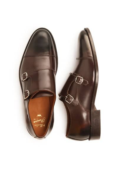 Leather monk-strap shoes