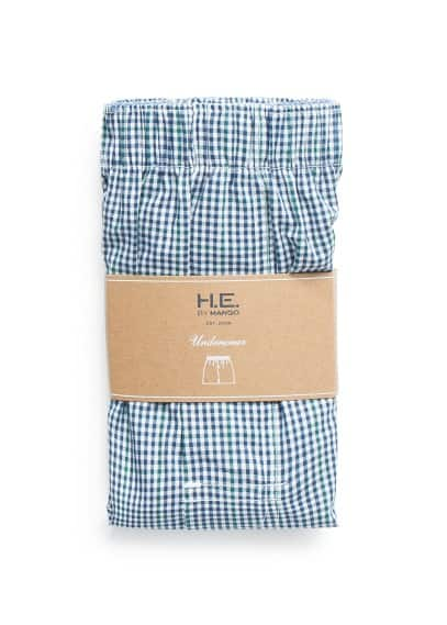 Gingham check cotton boxer shorts
