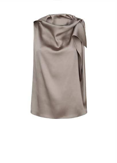 Draped satin blouse