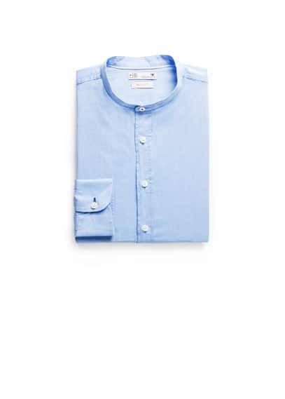 Camicia slim-fit collo alla coreana