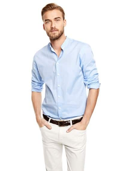 Slim-fit mao collar shirt