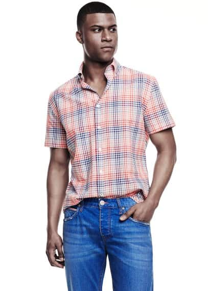 Slim-fit short sleeve check shirt
