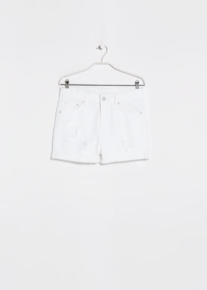 Short denim blanc