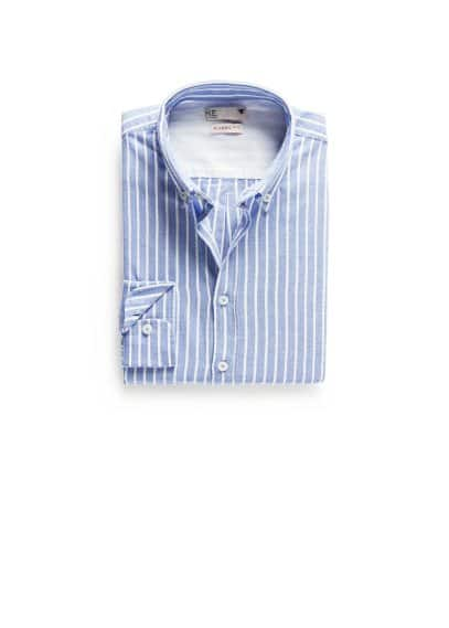 Camisa classic-fit Oxford riscas