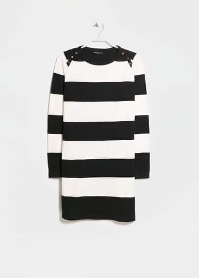 Straight-cut striped jersey dress