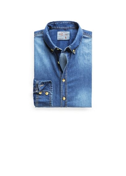 Donker denim slim-fit overhemd