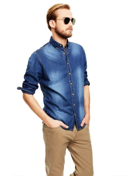 Camicia denim scuro slim-fit