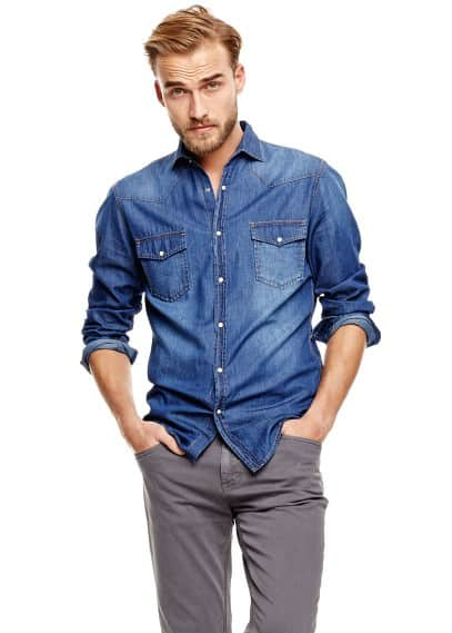 Classic-fit dark denim shirt