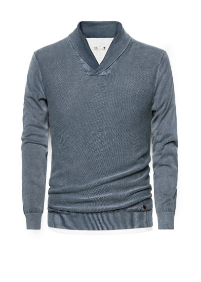 Shawl collar cotton sweater