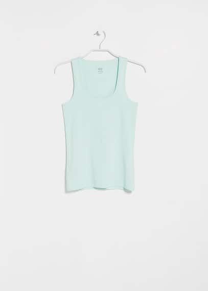 Strap cotton t-shirt