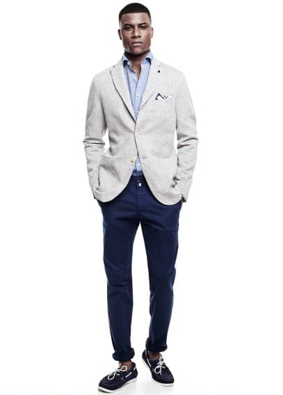 Unstructured cotton linen-blend blazer